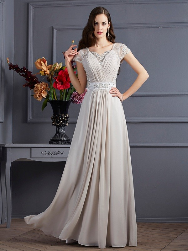 Chiffon A-Line Long Short Sleeves Sweetheart Grey Prom Dresses