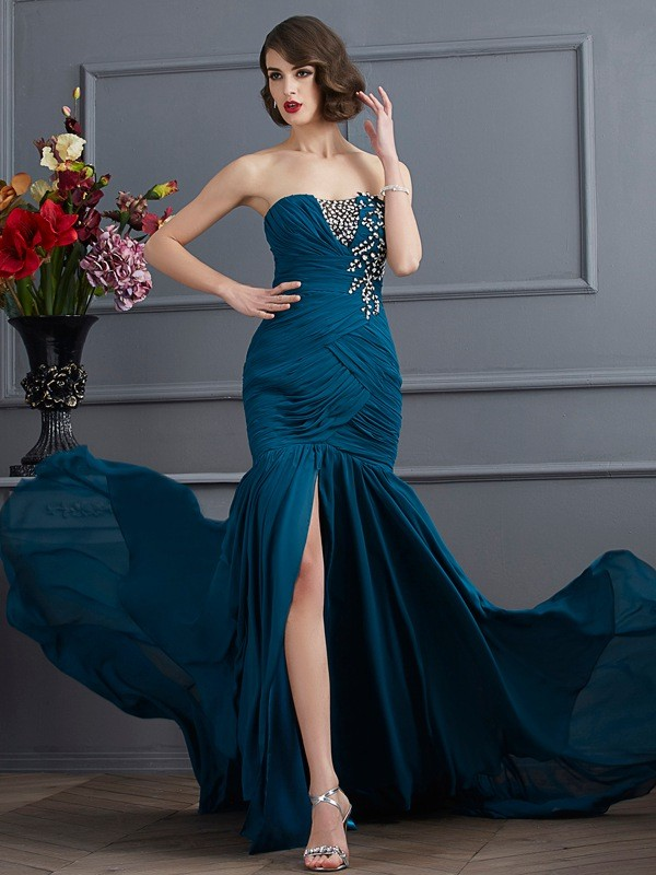 Mermaid Strapless Brush Train Other Prom Dresses with Beading