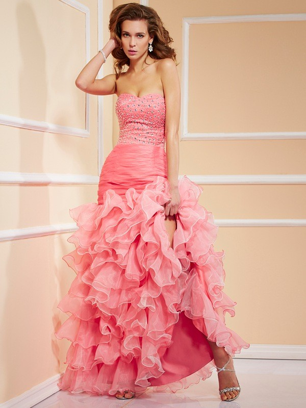 Mermaid Organza Sweetheart Asymmetrical Watermelon Prom Dresses