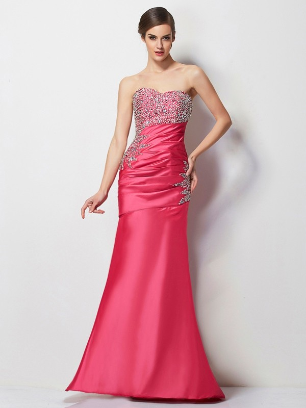 Floor-Length Fuchsia Sweetheart Prom Dresses with Beading