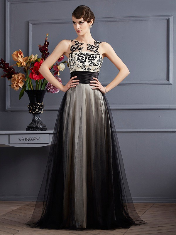 Silk like Satin A-Line Floor-Length Scoop Black Prom Dresses