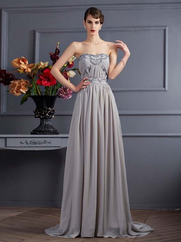 Grey A-Line Sweetheart Brush Train Prom Dresses with Beading