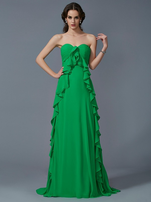 Sweetheart Brush Train Green Prom Dresses with Ruffles