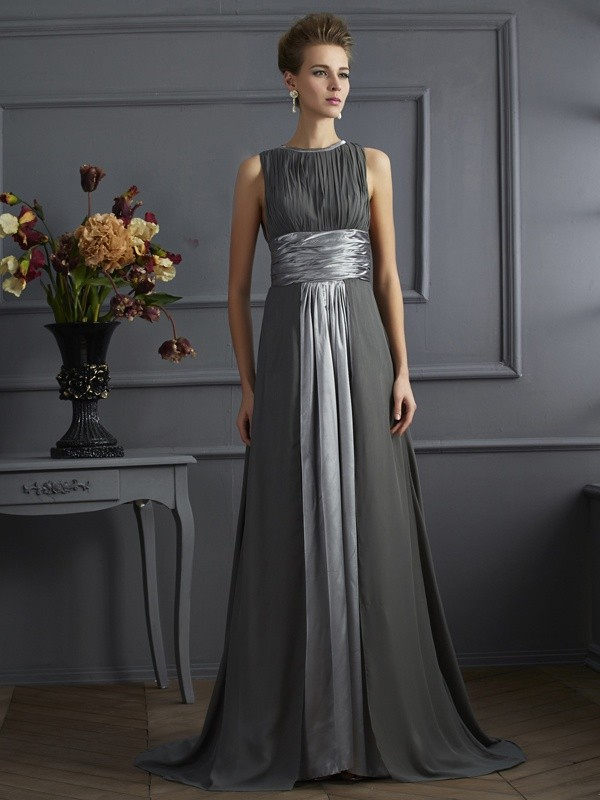 Brush Train Grey High Neck Prom Dresses with Pleats