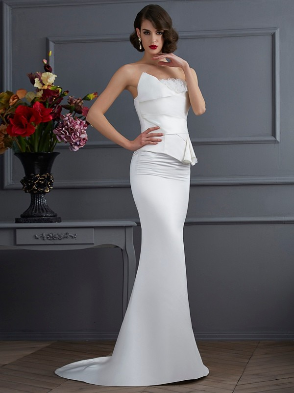 Satin Mermaid Brush Train Strapless Ivory Prom Dresses