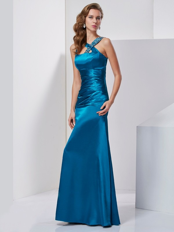 Sheath Silk like Satin Straps Floor-Length Blue Prom Dresses