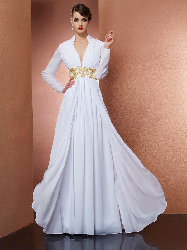 Long Sleeves A-Line V-neck Floor-Length White Prom Dresses
