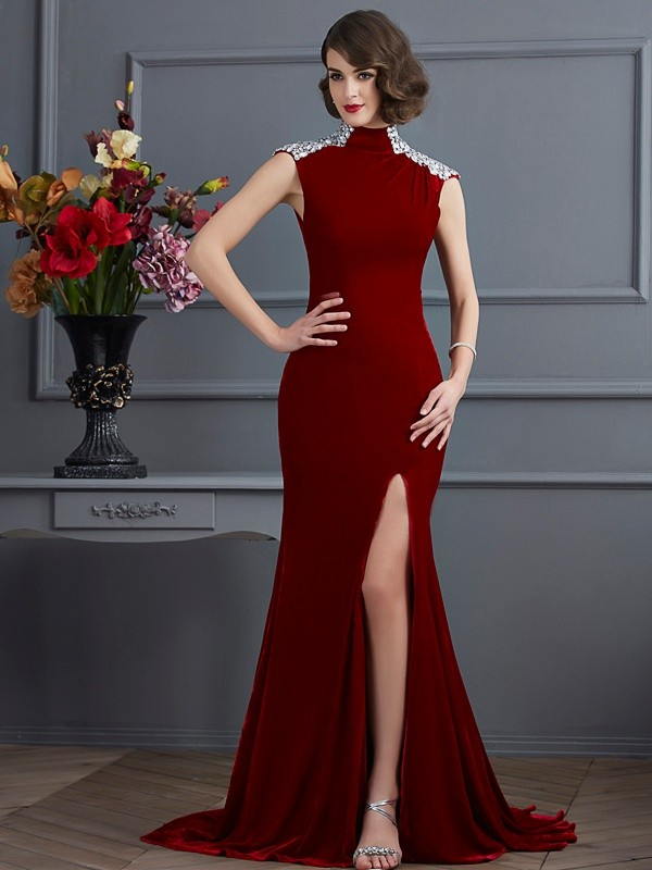 A-Line High Neck Brush Train Burgundy Prom Dresses with Beading