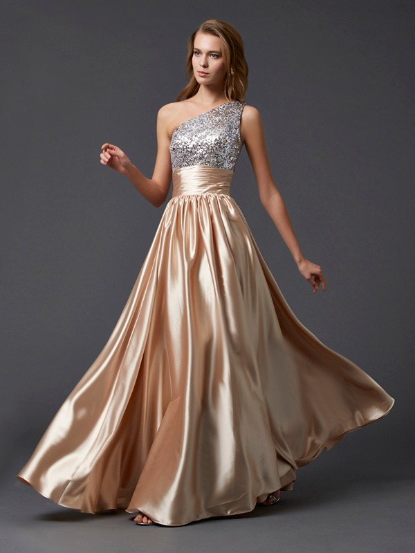 A-Line One-Shoulder Long Champagne Prom Dresses with Paillette