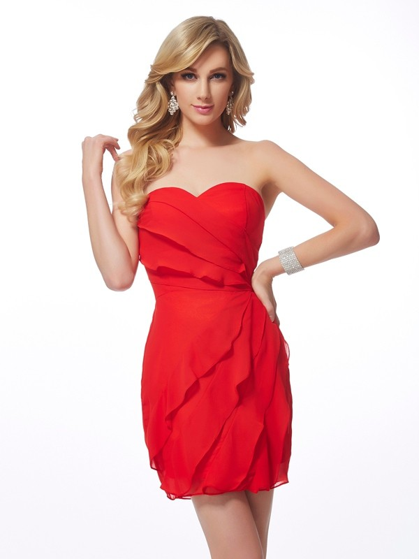 Red Sheath Sweetheart Short/Mini Homecoming Dresses with Ruffles