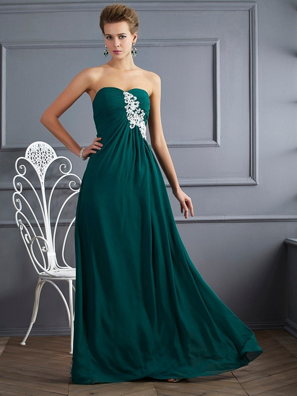 Floor-Length Hunter Green Sweetheart Prom Dresses with Beading