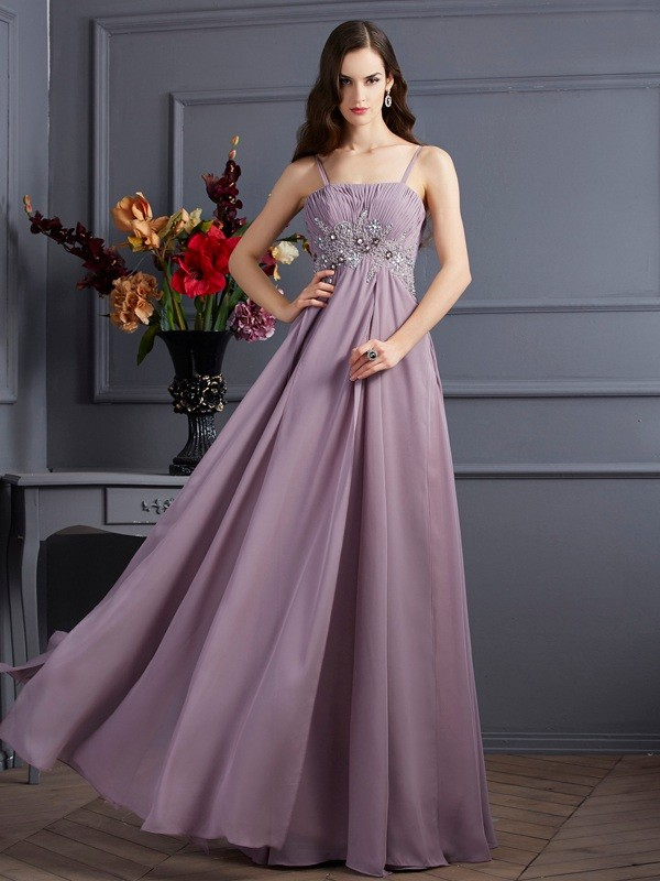 Chiffon Spaghetti Straps Floor-Length Brown Prom Dresses