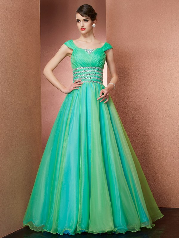 Ball Gown Off-the-Shoulder Floor-Length Green Prom Dresses