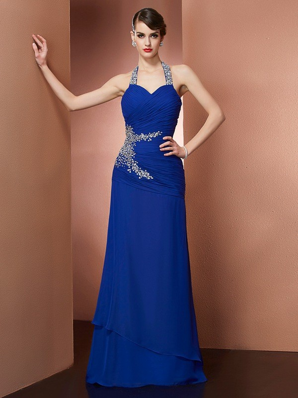 Halter Floor-Length Royal Blue Prom Dresses with Beading