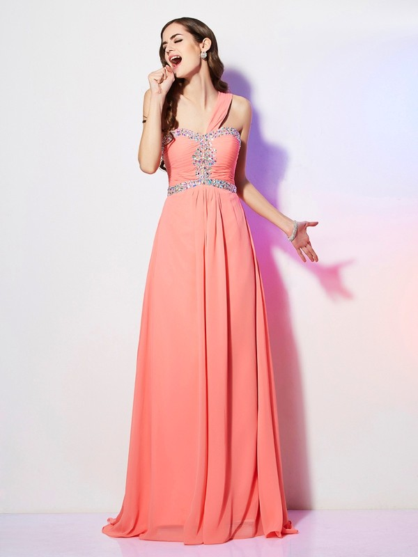 A-Line One-Shoulder Brush Train Watermelon Prom Dresses with Beading