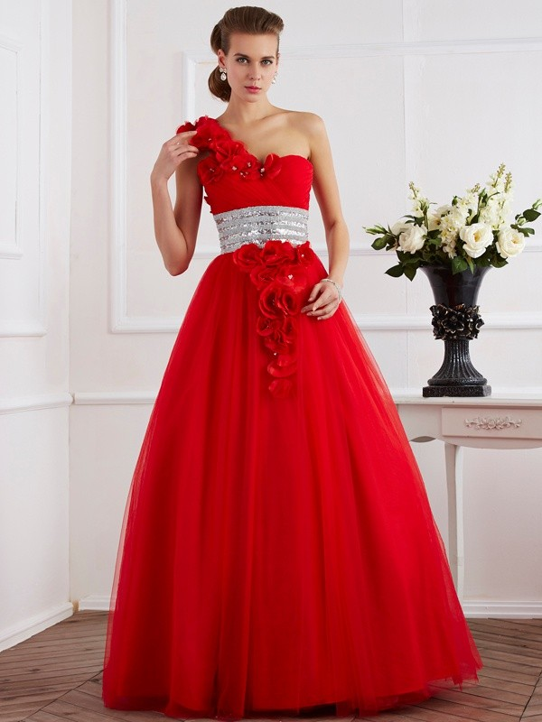 Ball Gown Net One-Shoulder Floor-Length Prom Dresses with Beading