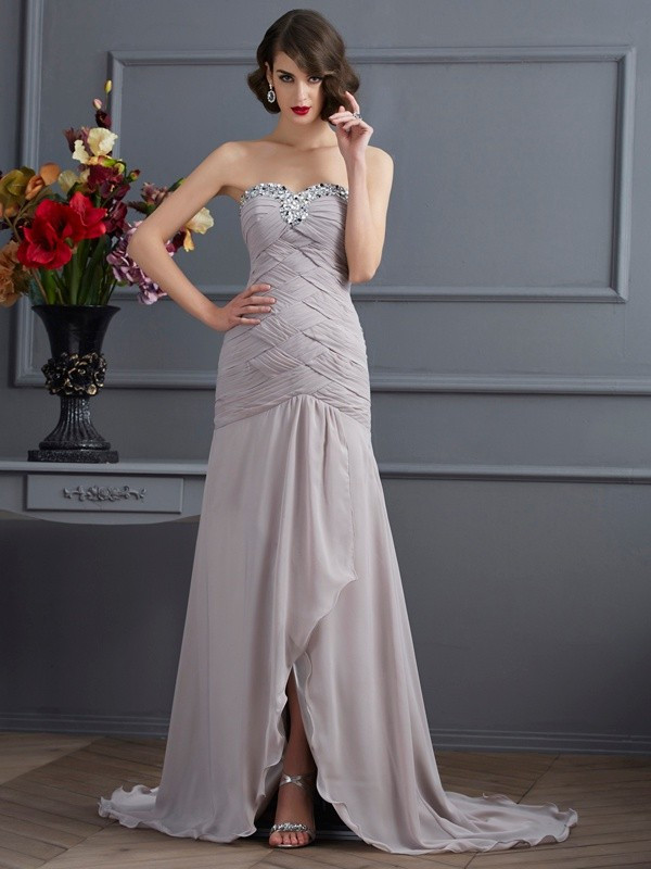 A-Line Sweetheart Brush Train Silver Prom Dresses with Beading