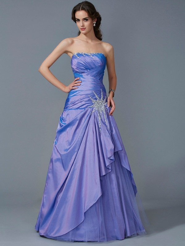 Mermaid Strapless Floor-Length Lavender Prom Dresses