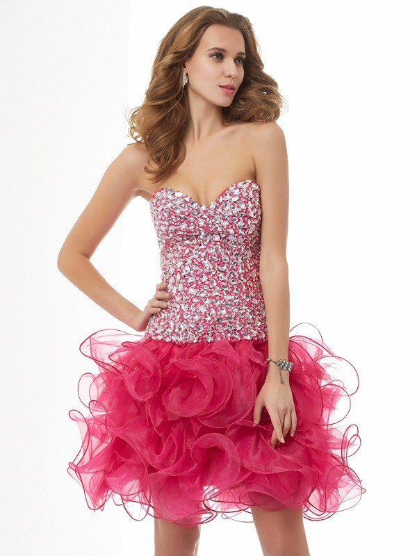 Sheath Sweetheart Short/Mini Watermelon Homecoming Dresses
