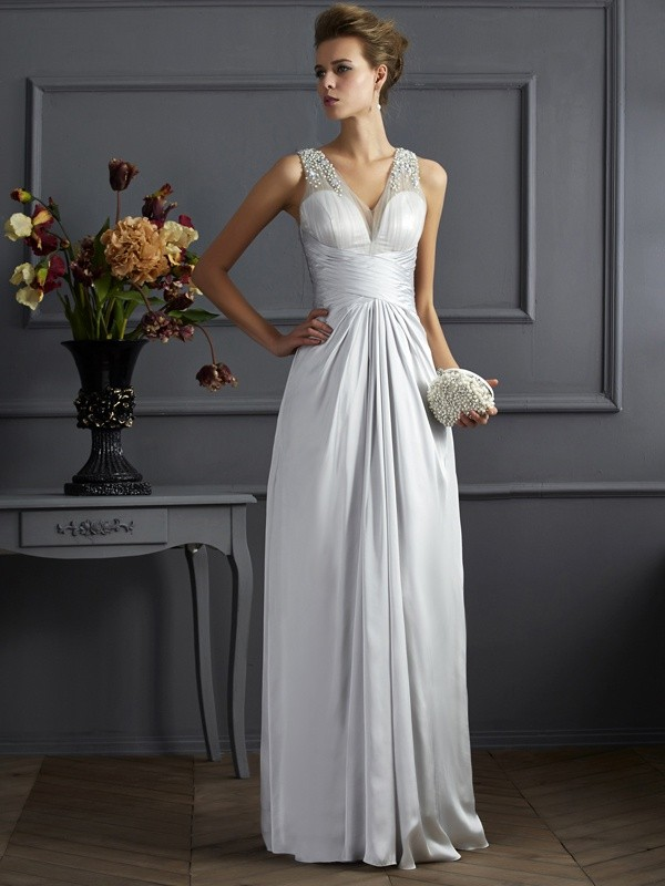 Silk like Satin Straps Floor-Length Silver Prom Dresses