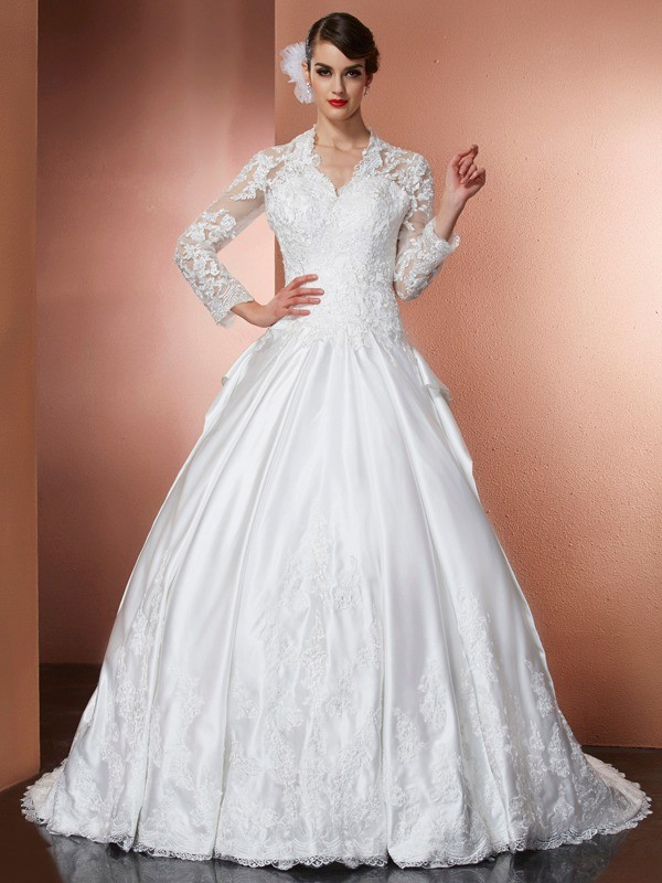 Ivory A-Line V-neck Cathedral Train Wedding Dresses with Applique