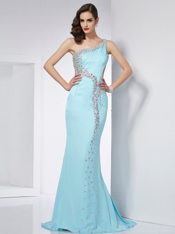 Light Sky Blue Mermaid One-Shoulder Brush Train Prom Dresses with Beading