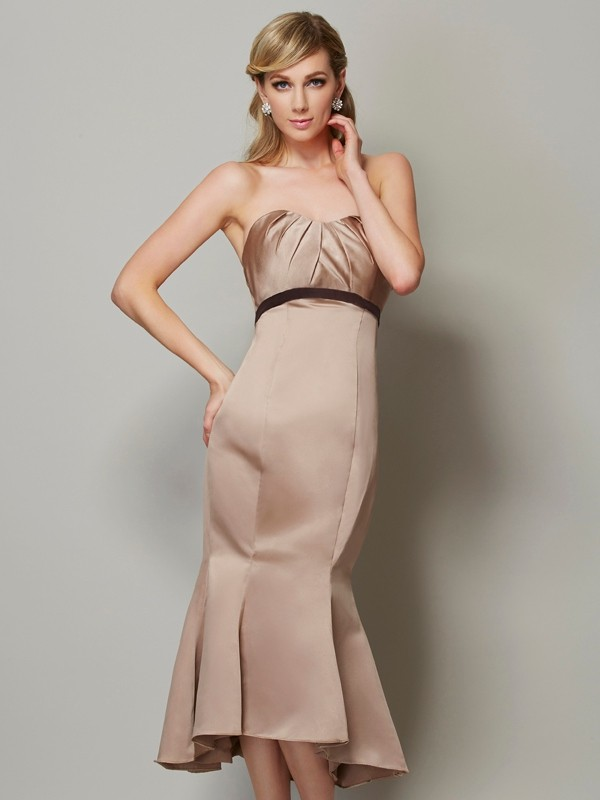 Satin Strapless Tea-Length Champagne Prom Dresses