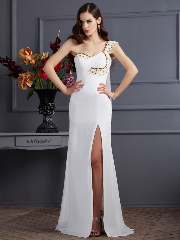 A-Line One-Shoulder Brush Train Ivory Prom Dresses with Beading