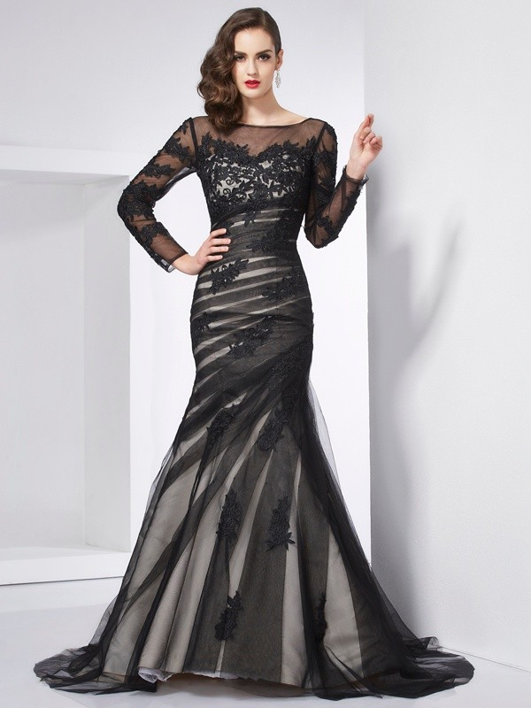 Mermaid Satin Long Sleeves Jewel Brush Train Black Prom Dresses