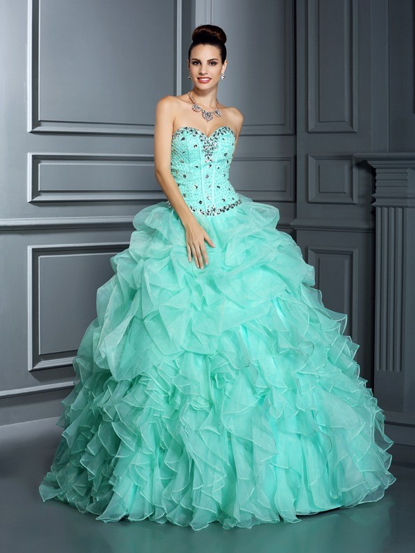 Ball Gown Sweetheart Floor-Length Sage Prom Dresses