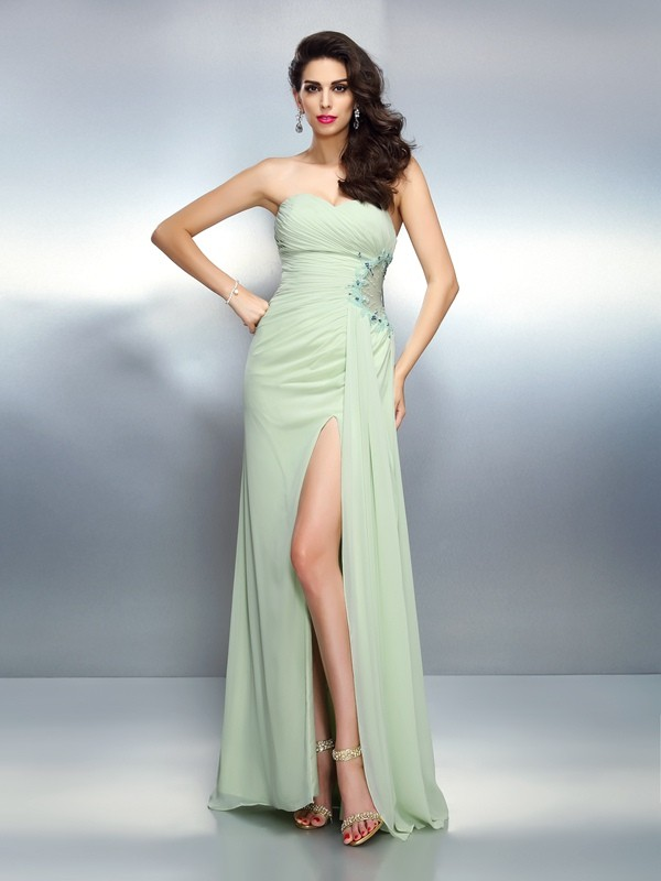 A-Line Chiffon Sweetheart Floor-Length Prom Dresses with Pleats