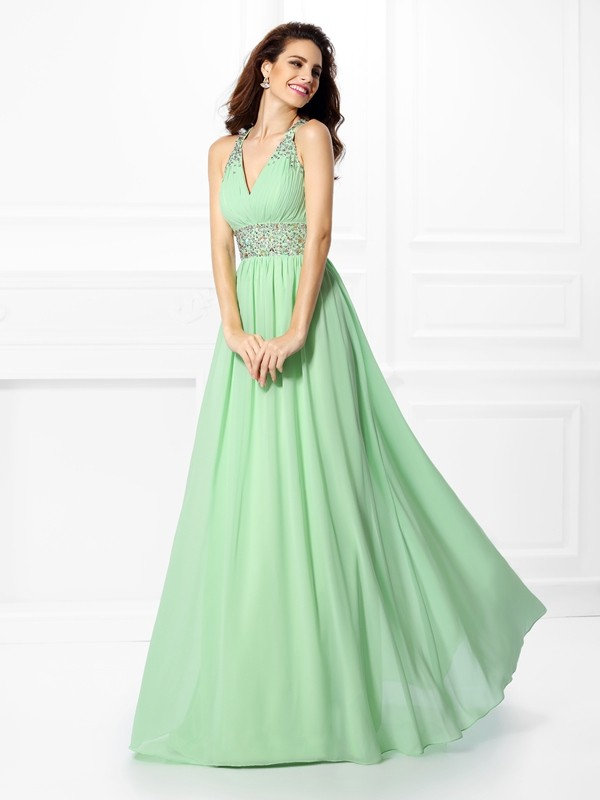 Chiffon V-neck Floor-Length Sage Prom Dresses