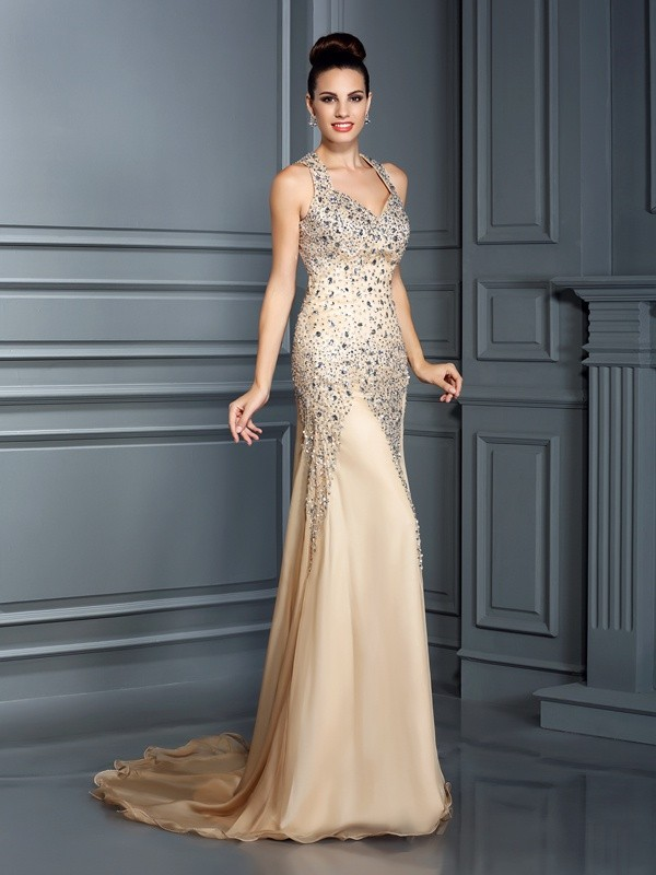 Champagne A-Line Straps Court Train Prom Dresses with Beading