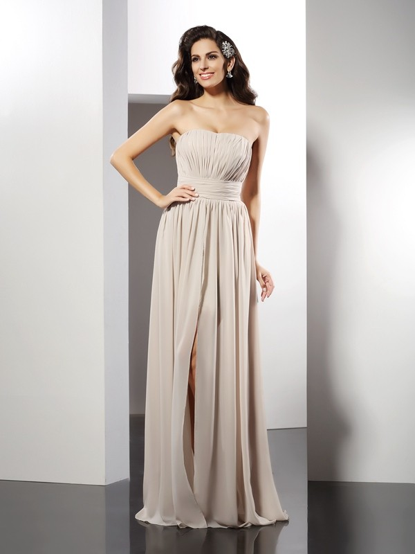 Sheath Strapless Floor-Length Champagne Prom Dresses