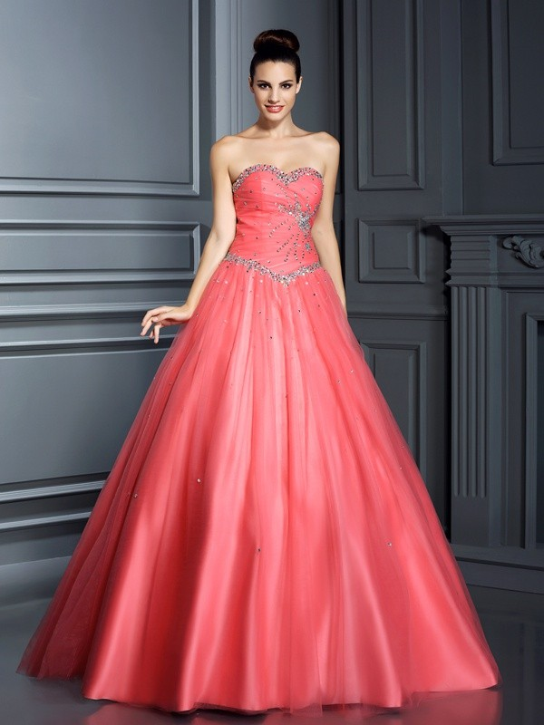 Ball Gown Net Sweetheart Floor-Length Prom Dresses with Beading