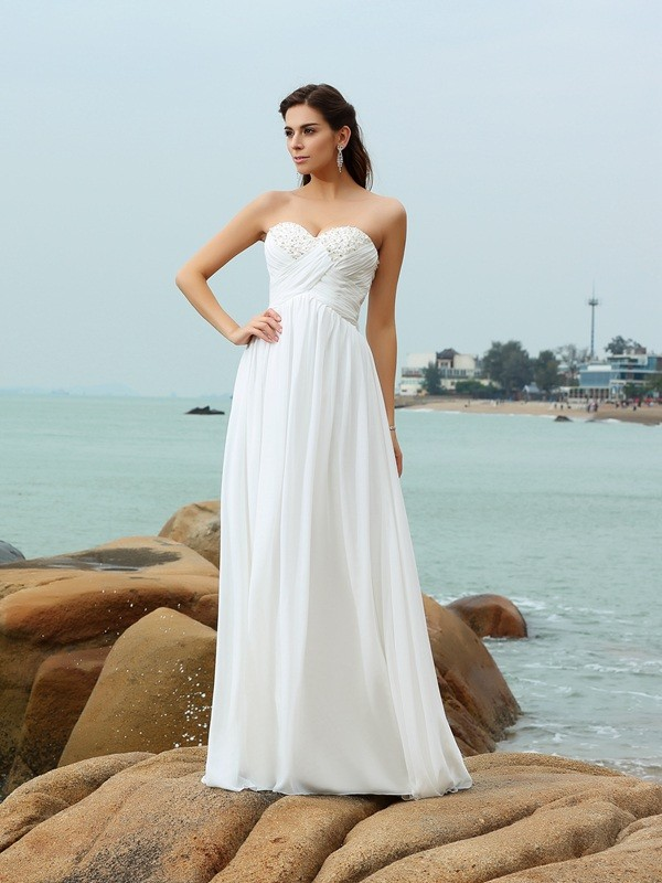 A-Line Sweetheart Brush Train Ivory Wedding Dresses