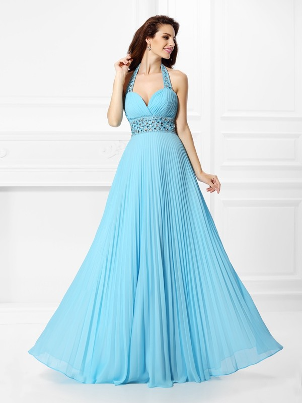 A-Line Halter Floor-Length Light Sky Blue Prom Dresses