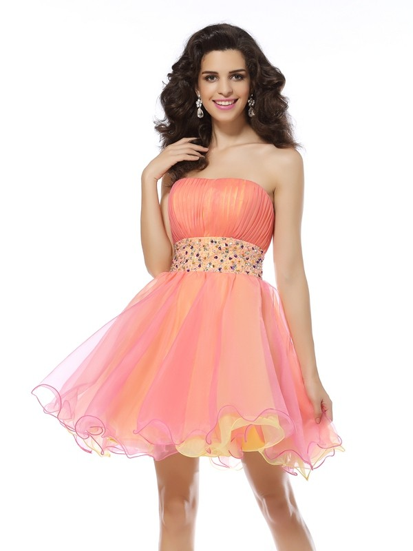 A-Line Organza Strapless Short/Mini Pink Homecoming Dresses