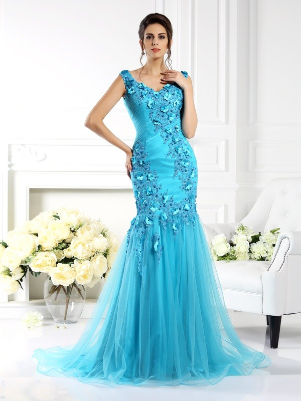 Mermaid Straps Brush Train Blue Prom Dresses