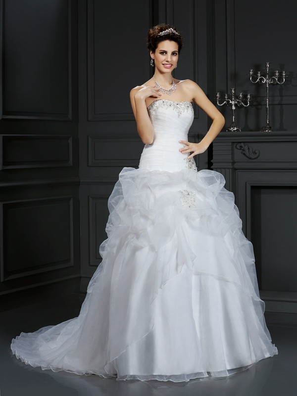 Ivory Ball Gown Strapless Court Train Wedding Dresses with Beading
