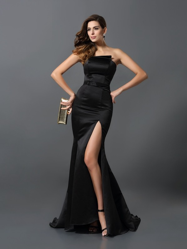 Floor-Length Black Strapless Prom Dresses with Sash/Ribbon/Belt