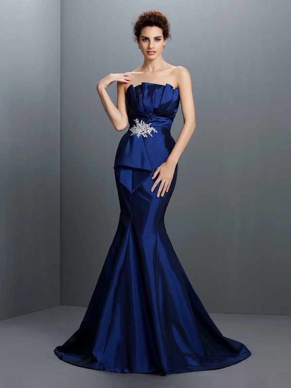 Mermaid Strapless Brush Train Royal Blue Prom Dresses