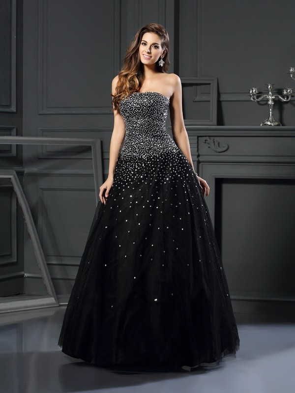 Black Strapless Satin Floor-Length Prom Dresses