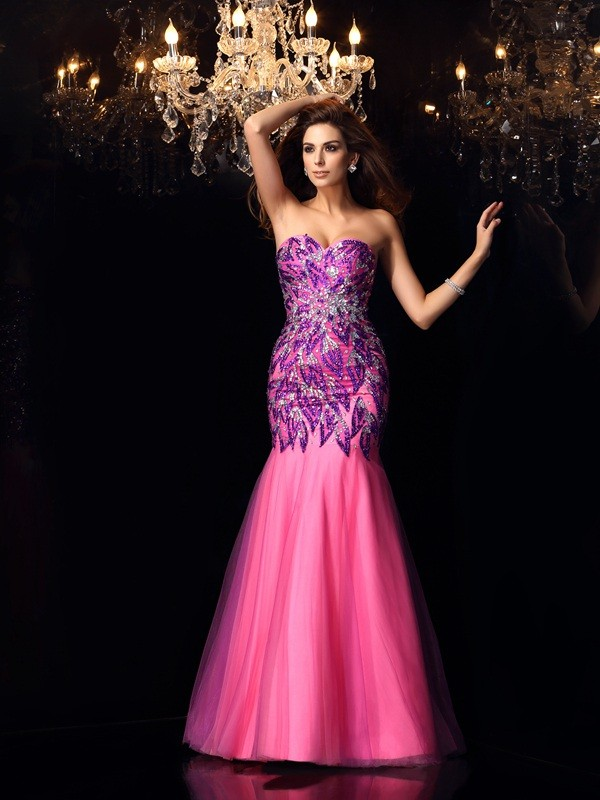 Mermaid Net Sweetheart Floor-Length Prom Dresses with Beading