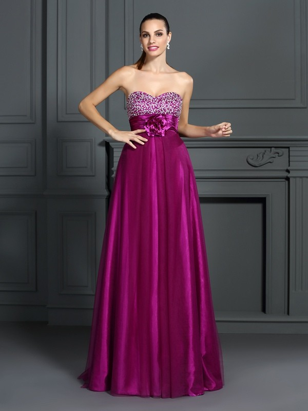 A-Line Sweetheart Long Fuchsia Prom Dresses with Hand-Made Flower