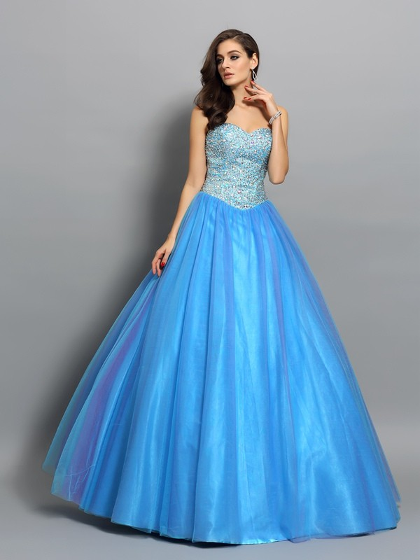 Ball Gown Elastic Woven Satin Sweetheart Long Blue Prom Dresses