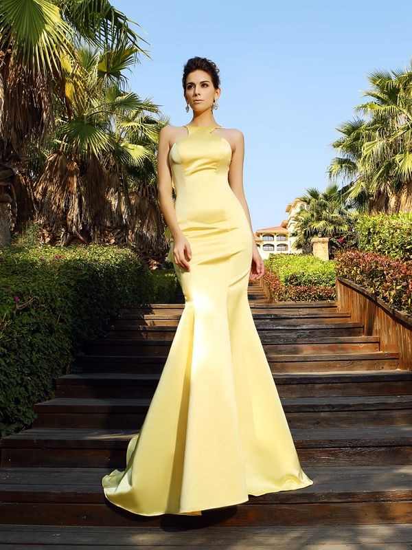 Mermaid Scoop Court Train Yellow Prom Dresses
