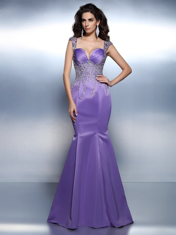 Lavender Mermaid Sweetheart Brush Train Prom Dresses with Beading