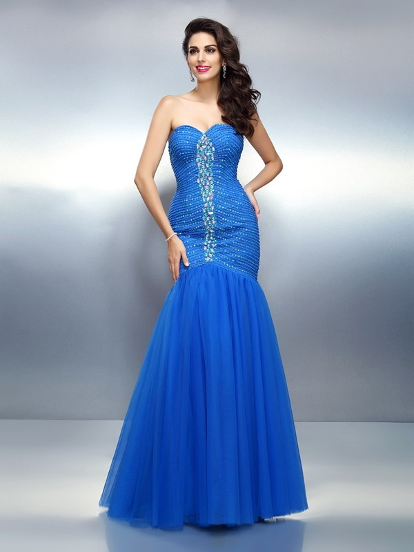 Sweetheart Floor-Length Royal Blue Prom Dresses with Rhinestone