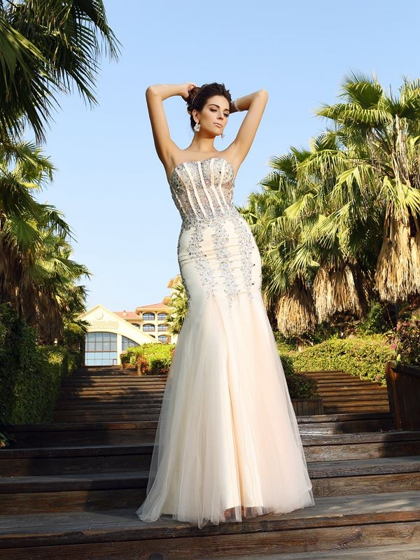 Mermaid Satin Strapless Floor-Length Prom Dresses with Beading